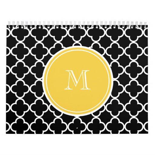 Modelo negro de Quatrefoil, monograma amarillo Calendario