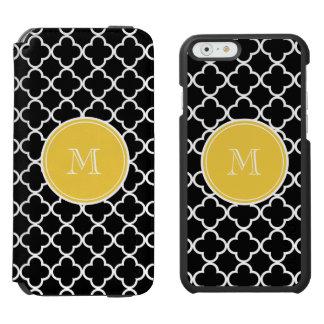 Modelo negro de Quatrefoil, monograma amarillo Funda Billetera Para iPhone 6 Watson