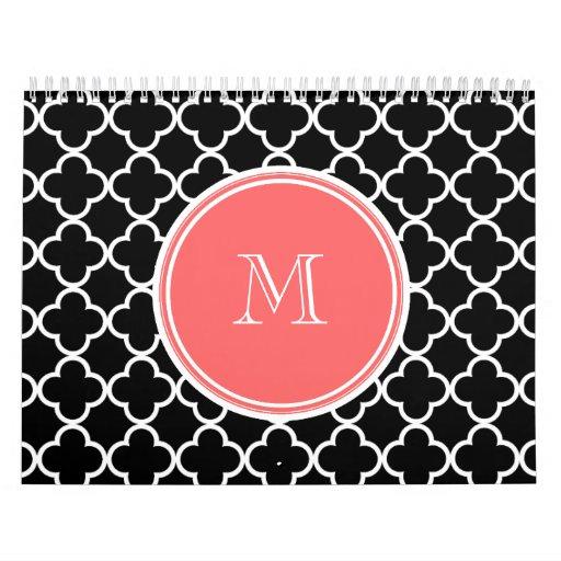 Modelo negro de Quatrefoil, monograma coralino Calendario