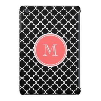 Modelo negro de Quatrefoil monograma coralino Funda De iPad Mini
