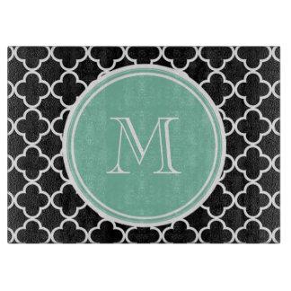 Modelo negro de Quatrefoil, monograma de la verde Tablas Para Cortar