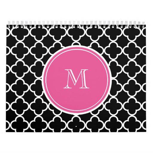 Modelo negro de Quatrefoil, monograma de las rosas Calendarios De Pared
