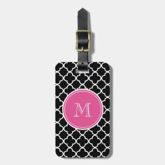 Modelo negro de Quatrefoil, monograma de las rosas Etiquetas Bolsas