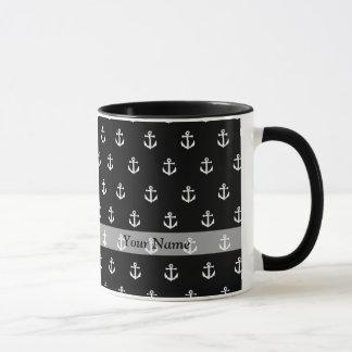 Modelo negro del ancla taza