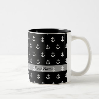 Modelo negro del ancla taza de café de dos colores
