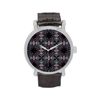 Modelo negro del arte del fractal relojes de pulsera