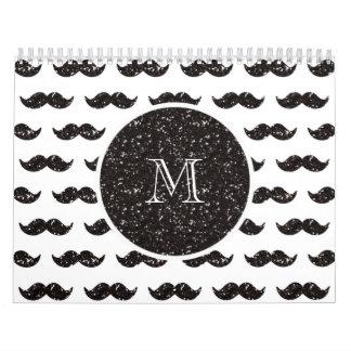 Modelo negro del bigote del brillo su monograma calendario