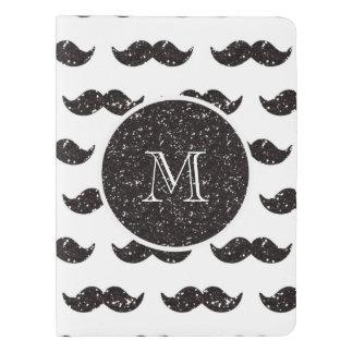 Modelo negro del bigote del brillo su monograma cuaderno extra grande moleskine