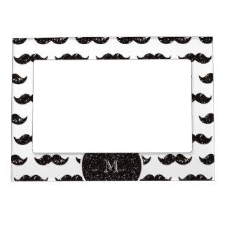 Modelo negro del bigote del brillo su monograma marcos magnéticos para fotos