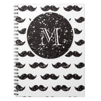 Modelo negro del bigote del brillo su monograma notebook
