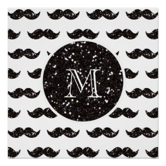 Modelo negro del bigote del brillo su monograma perfect poster