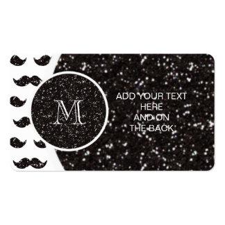 Modelo negro del bigote del brillo su monograma tarjetas de visita