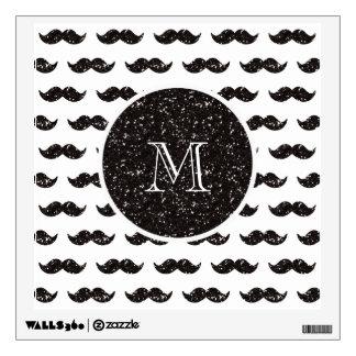 Modelo negro del bigote del brillo su monograma vinilo