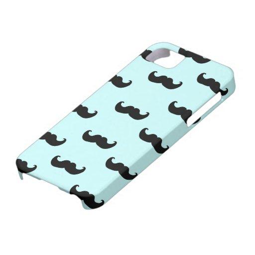 Modelo negro del bigote en azul iPhone 5 Case-Mate carcasa