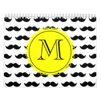 Modelo negro del bigote, monograma amarillo calendario de pared