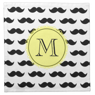 Modelo negro del bigote, monograma amarillo servilletas imprimidas