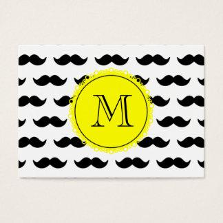 Modelo negro del bigote, monograma amarillo tarjeta de negocios