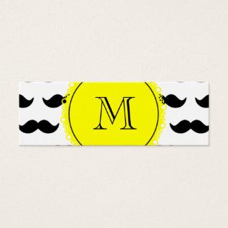 Modelo negro del bigote, monograma amarillo tarjeta de visita pequeña