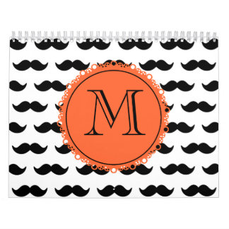 Modelo negro del bigote, monograma coralino calendario