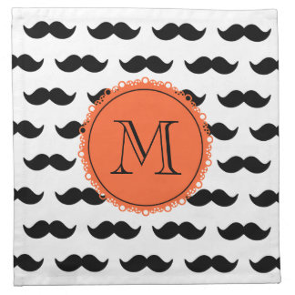 Modelo negro del bigote, monograma coralino servilleta imprimida