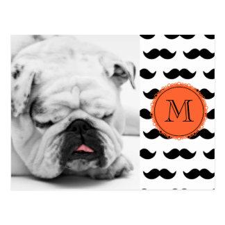 Modelo negro del bigote, monograma coralino postal