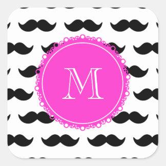 Modelo negro del bigote, monograma de las rosas pegatina cuadrada
