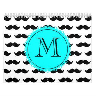 Modelo negro del bigote, monograma del azul de la calendarios