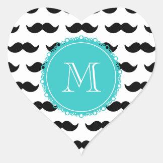 Modelo negro del bigote, monograma del trullo pegatina en forma de corazón