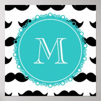 Modelo negro del bigote, monograma del trullo póster