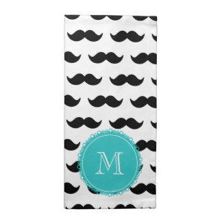 Modelo negro del bigote, monograma del trullo servilletas