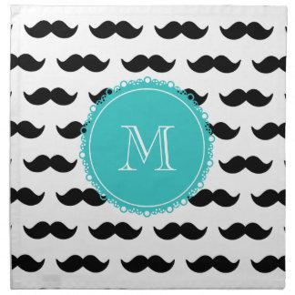 Modelo negro del bigote, monograma del trullo servilleta imprimida