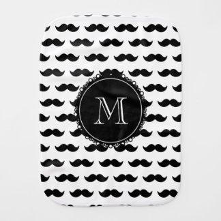 Modelo negro del bigote, monograma negro paños para bebé