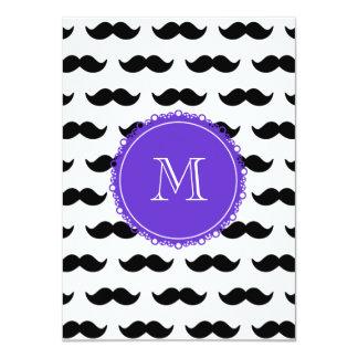 Modelo negro del bigote, monograma púrpura