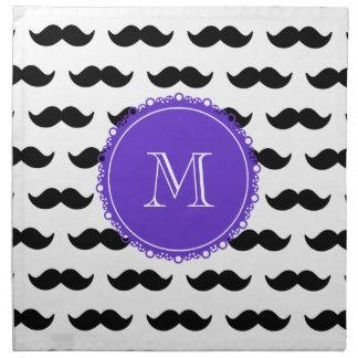 Modelo negro del bigote, monograma púrpura servilleta de papel