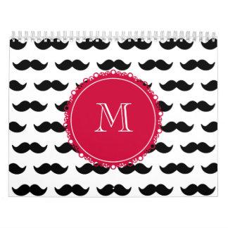 Modelo negro del bigote, monograma rojo calendarios
