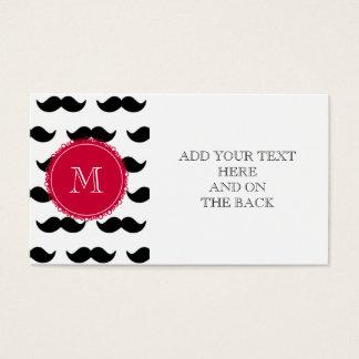 Modelo negro del bigote, monograma rojo tarjeta de negocios