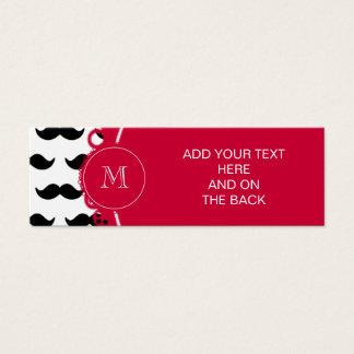 Modelo negro del bigote, monograma rojo tarjeta de visita pequeña