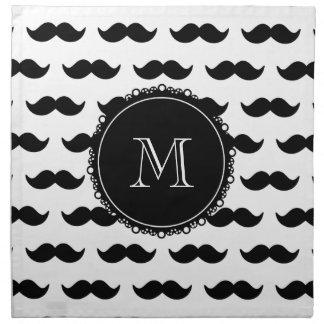 Modelo negro del bigote, su monograma servilleta de papel