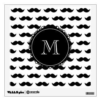 Modelo negro del bigote, su monograma vinilo