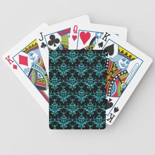 Modelo negro del damasco de la turquesa del brillo barajas de cartas