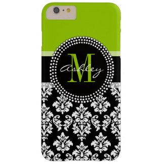 Modelo negro del damasco de la verde lima con funda barely there iPhone 6 plus