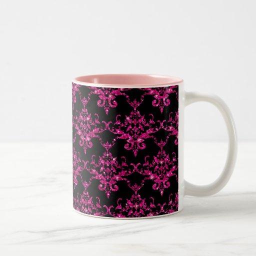 Modelo negro del damasco de las rosas fuertes del  taza dos tonos