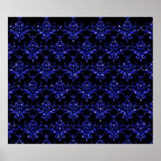 Modelo negro del damasco de los azules añiles del  impresiones