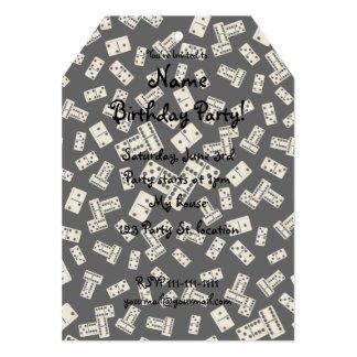 """Modelo negro del dominó de la diversión invitación 5"""" x 7"""""""