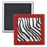 Modelo negro del estampado de zebra en de color ro imán de frigorífico