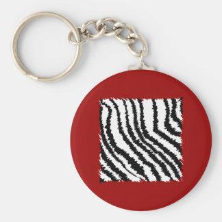 Modelo negro del estampado de zebra en de color ro llaveros personalizados