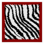 Modelo negro del estampado de zebra en de color ro impresiones