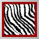Modelo negro del estampado de zebra en de color ro posters