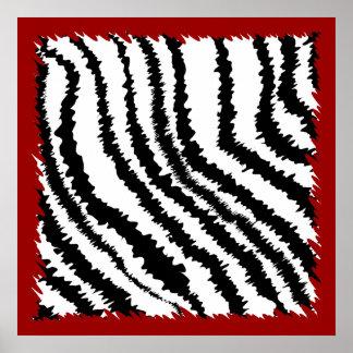 Modelo negro del estampado de zebra en de color ro póster