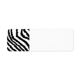Modelo negro del estampado de zebra etiqueta de remite